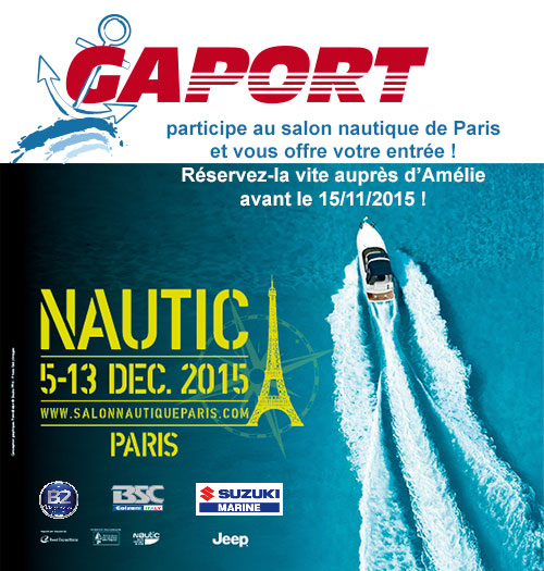 Gaport au nautic 2015 gaport for Salon nautique porte de versailles horaires